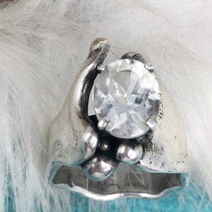 Vintage Jewelry - Vtg Sterling Quartz Brutalist MCM Ring Size 7